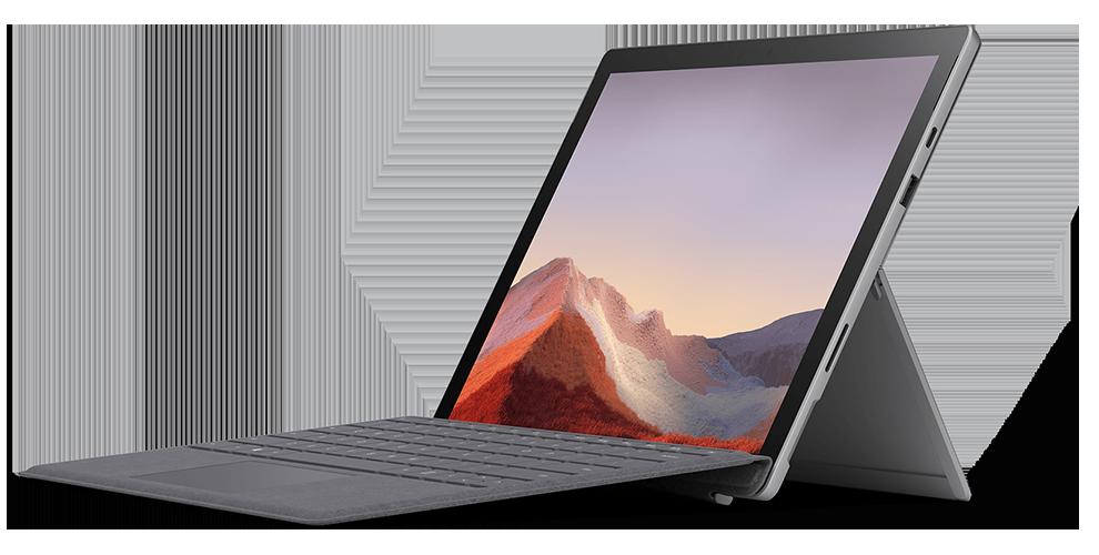 典雅黑和亮铂金的 Surface Pro 7 搭配各种颜色的键盘盖和配件