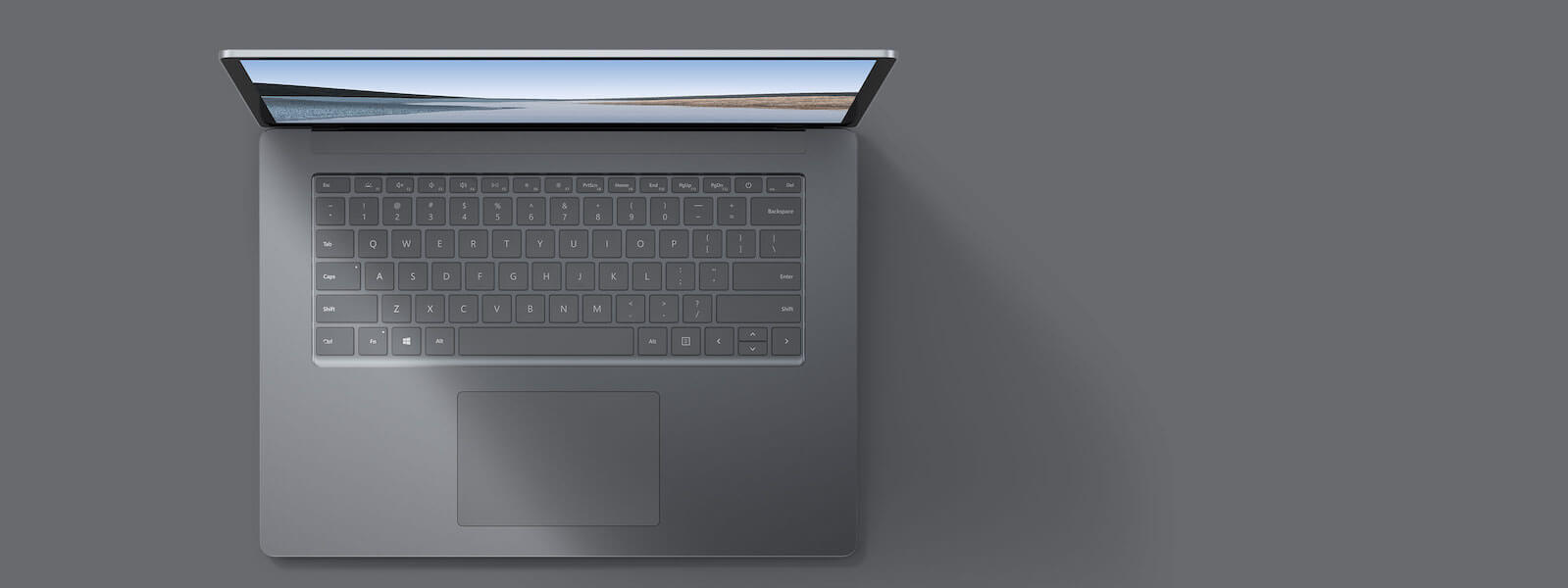 亮铂金 13.5 英寸 Surface Laptop 3 俯视图
