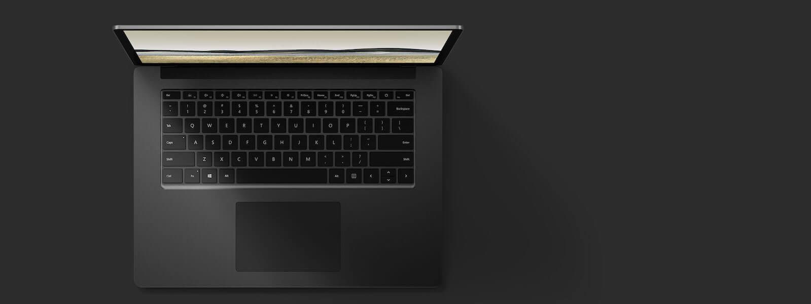 典雅黑 15 英寸 Surface Laptop 3 俯视图