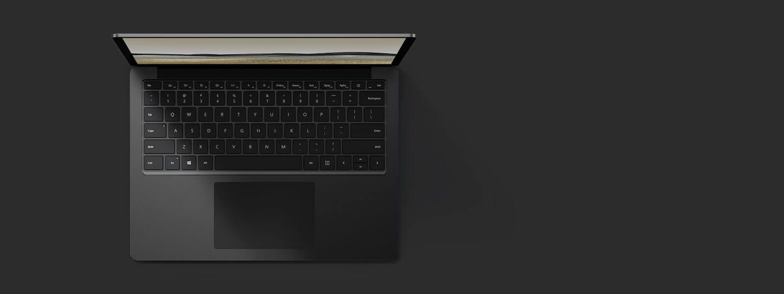 典雅黑 13.5 英寸 Surface Laptop 3 俯视图