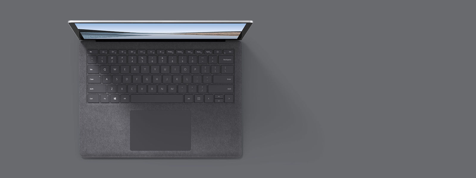 亮铂金 13.5 英寸 Surface Laptop 3 俯视图