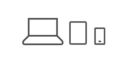 笔记本、平板及智能手机图标。