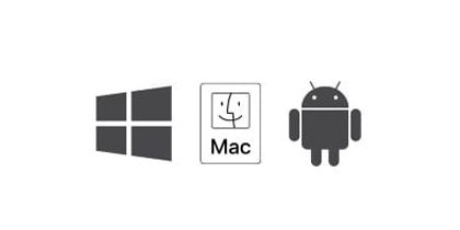 Windows、MacOS 及 Android 图标。